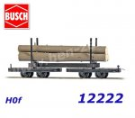 12222 Busch Bogie stake car with tree trunks., H0f