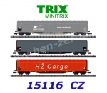 15116 TRIX MiniTRIX N Set of 3 sliding tarp car of the CD Cargo, ZSSK Cargo and HZ Cargo