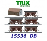 15536 TRIX MiniTRIX N Set of 5 Hopper Cars with load of coal, DB