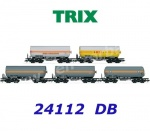 24112 TRIX  Set of 5 four-axle pressurized gas tank cars