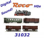 31032 Roco H0e 5 piece train set: Steam locomotive 399.06 with 4 wagons, ÖBB, Sound