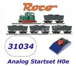 31034 Roco H0e 5 piece train set: Diesel locomotive + 4 wagons