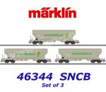 "46344 Märklin Set of 3 Covered Hopper Cars type Uapps, ""Transcereales"", SNCB"
