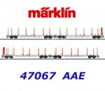 47067 Märklin Set of 4 Stake Cars Wagons Type Sgns 121, AAE Cargo