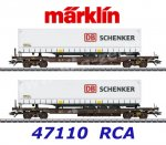 "47110  Marklin Set of 2 flat cars  with semi-trailers ""DB Schenker"""