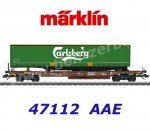 "47112  Marklin Flat cars type Sdgmns 33 with semi-trailer ""Carlsberg""of the AAE Cargo,"