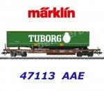 "47113  Marklin Flat cars type Sdgmns 33 with semi-trailer ""Tuborg""of the AAE Cargo"