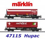 "47115  Marklin Set of 2 flat cars  with semi-trailers ""Planzer"", Hupac"