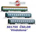 "501755 Tillig Set of 3 Express Train Cars ""Vindobona""  of the CSD, DR"
