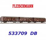 533709 Fleischmann 3-piece Set Sliding Wall Cars Type Hbis 299 of the DB