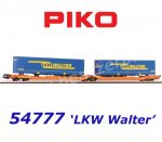 "54777 Piko Flat Car Type T 3000e Wascosa  loaded with two ""LKW Walter"" trailers"