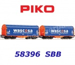 58396 Piko Set of 2 Sliding tarpaulin wagons of the SBB Wascosa
