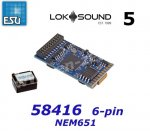 58416 ESU Sound Decoder Loksound 5 - 6-pin NEM652