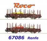 67086 Roco Set of 2 Stake Cars with 4 cars Fiat 127 of the RENFE