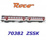 70382 Roco Diesel railcar class 810 and caboose of the ZSSK