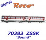 70383 Roco Diesel railcar class 810 and caboose of the ZSSK - Sound