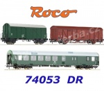 74053 Roco 3 piece wagon set: Construction/maintenance train, DR