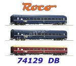 "74129 Roco Set of 3 Express Train Passenger Cars  ""Trans Euro Night"", of the DB"