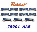 75901 Roco Set of 7 pocket wagons with semi-trailers of the forwarding agent LKW Walter, AAE
