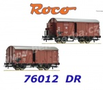 76012 Roco Set of two covered goods wagons type Gr of the  DR