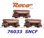 76033 Roco 3 piece set swing roof wagons type Tds, SNCF