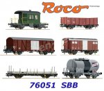 "76051 Roco Set of 6 Goods Wagons ""Gotthardbahn"" of the SBB"