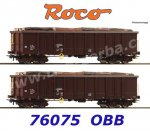 76075 Roco Set of 2 Open Cars Type Eanos with Bundles of Wood, ÖBB