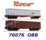 76076 Roco Set of 2 open goods cars with bundles of wood, OBB