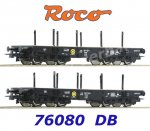 76080 Roco 2 piece set - Heavy duty flat wagons type Rlmmp, DB
