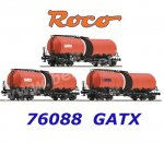 76088 Roco Set of 3 Tank Cars, Type Zaes, of the GATX