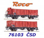76103 Roco Set of 2 freight cars type Vtpr of the CSD