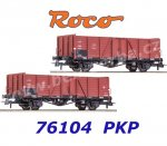 76104 Roco Set of 2 open goods wagons type Wddo 52 of the PKP