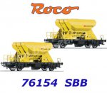 76154 Roco Set of 2 Hopper Cars Type Fccnpps, of the SBB