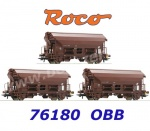 76180 Roco 3 piece set swing roof wagons type Tds, ÖBB