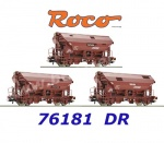 76181 Roco Set of 3 swing roof wagons, type Tds, of the DR