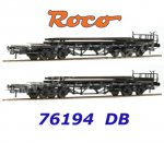 76194 Roco Set of 2 Stake Cars Loaded with Track of the DB