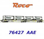 "76427 Roco Articulated pocket Car Type Sdggmrs/T2000  with 4 ""Rinnen"" containers , AAE"