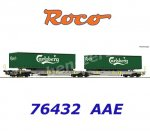 "76432 Roco  Articulated double pocket wagon, Sdggmrs/T2000, with 2 trailers  ""Carlsberg"",AAE"
