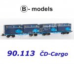"90.113 B-models Set of 2 Container Cars  InnoWaggon with 4 containers ""7 Sev.en / CD Cargo"""
