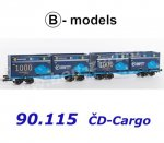 "90.115 B-models Set of 2 Container Cars  InnoWaggon with 4 containers  ""1000 InnoWagons""/CD Cargo"