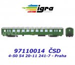"97110014 Igra Passenger Coach Type  Bai 4-50 54 20-11 241-7  ""Praha"" of the CSD"