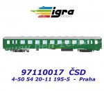 "97110017 Igra Passenger Coach Type  Bai 4-50 54 20-11 195-5  ""Praha"" of the CSD"
