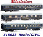 E18038  Electrotren 3-unit Set of Passenger coaches of the RENFE/ CIWL