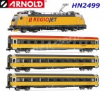 HN2499 Arnold N  4-unit train set contains a locomotive class 386 and 3 coaches 'RegioJet' CZ