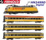HN2499D Arnold N  4-unit train set contains a locomotive class 386 and 3 coaches 'RegioJet' CZ DCC