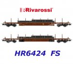 HR6424 Rivarossi Set of  2 Flat Cars Type Rgs, with steel slabs, FS