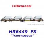 "HR6449 Rivarossi 3-axle Flat Car Transporter ""Transwaggon"",  of the FS"