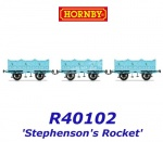 R40102 Hornby Set of 3 open carriage for Stephenson's Rocket of the L&MR