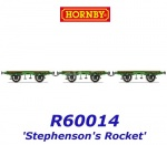 R60014  Hornby Set of 3 flat carriage for Stephenson's Rocket of the L&MR